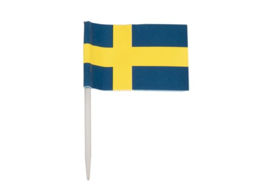 Flagga, Sverige, 40x28 mm, plastpinne, 65 mm (100 st)