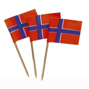 Flagga, Norge, 30x20 mm, tandpetare, 60 mm (144 st)
