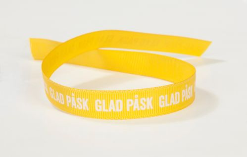 Tygband, Glad Påsk, gul med vit text, 13 mm x 100 m